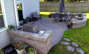 Paver Patio With Grill Surround And Fire Pit Hoffman Estates Il pertaining to 14 Genius Concepts of How to Make Backyard Patio Ideas With Fire Pit