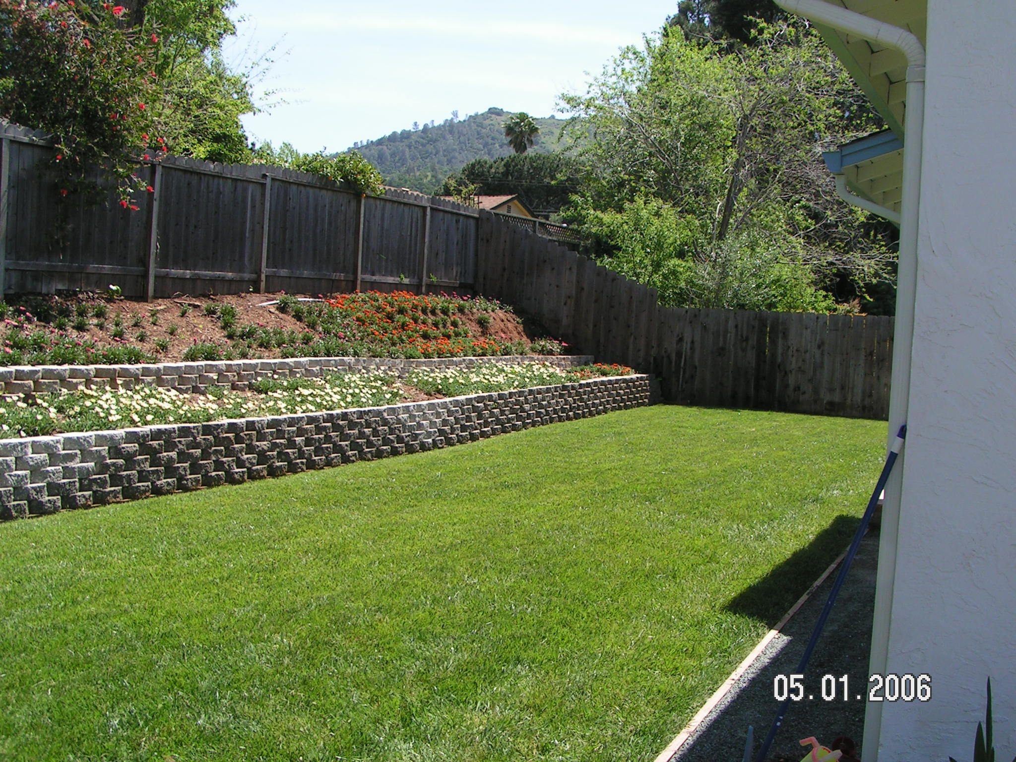Retaining Wall Slope Down To Flat Backyard Gardenyard Backyard with Backyard Slope Ideas
