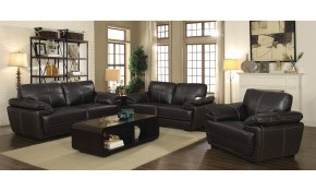 Shop Zenon Brown 3 Piece Leather Living Room Set On Sale Free intended for 3 Piece Leather Living Room Set