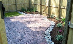 Townhouse Backyard With Stamped Concrete Patio And Simple for Townhouse Backyard Ideas