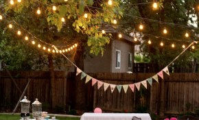 Backyard Birthday Fun Pink Hydrangeas Polka Dot Napkins regarding Backyard Party Lighting Ideas