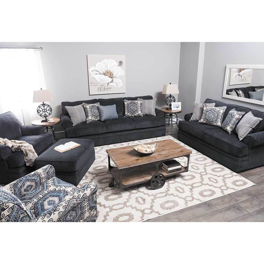 Bellamy Slate Sofa And Loveseat Fabric Living Room Sets regarding Simmons Living Room Set