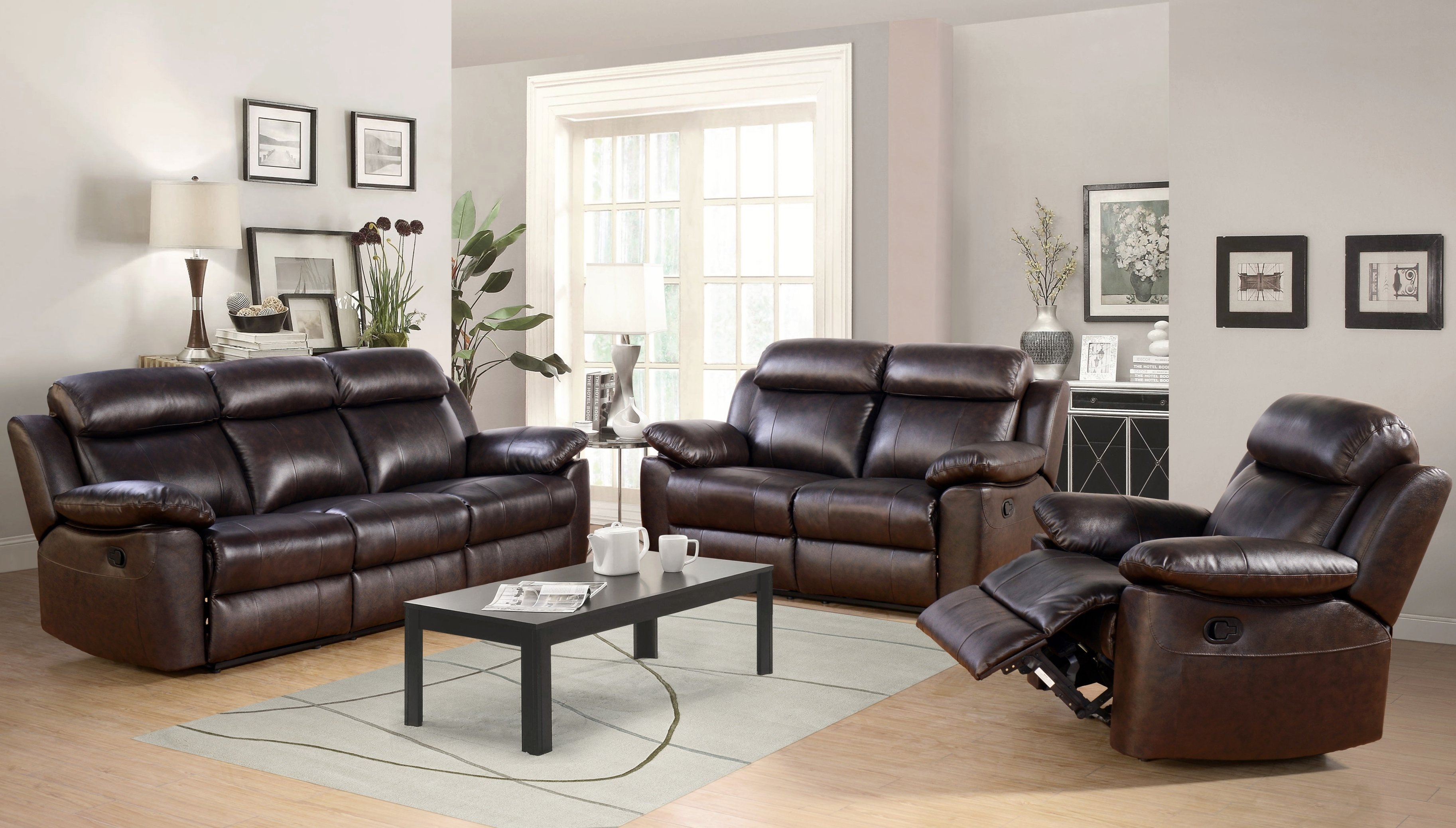 Breakwater Bay Oliver Reclining Leather 3 Piece Living Room Set inside Leather Living Room Sets