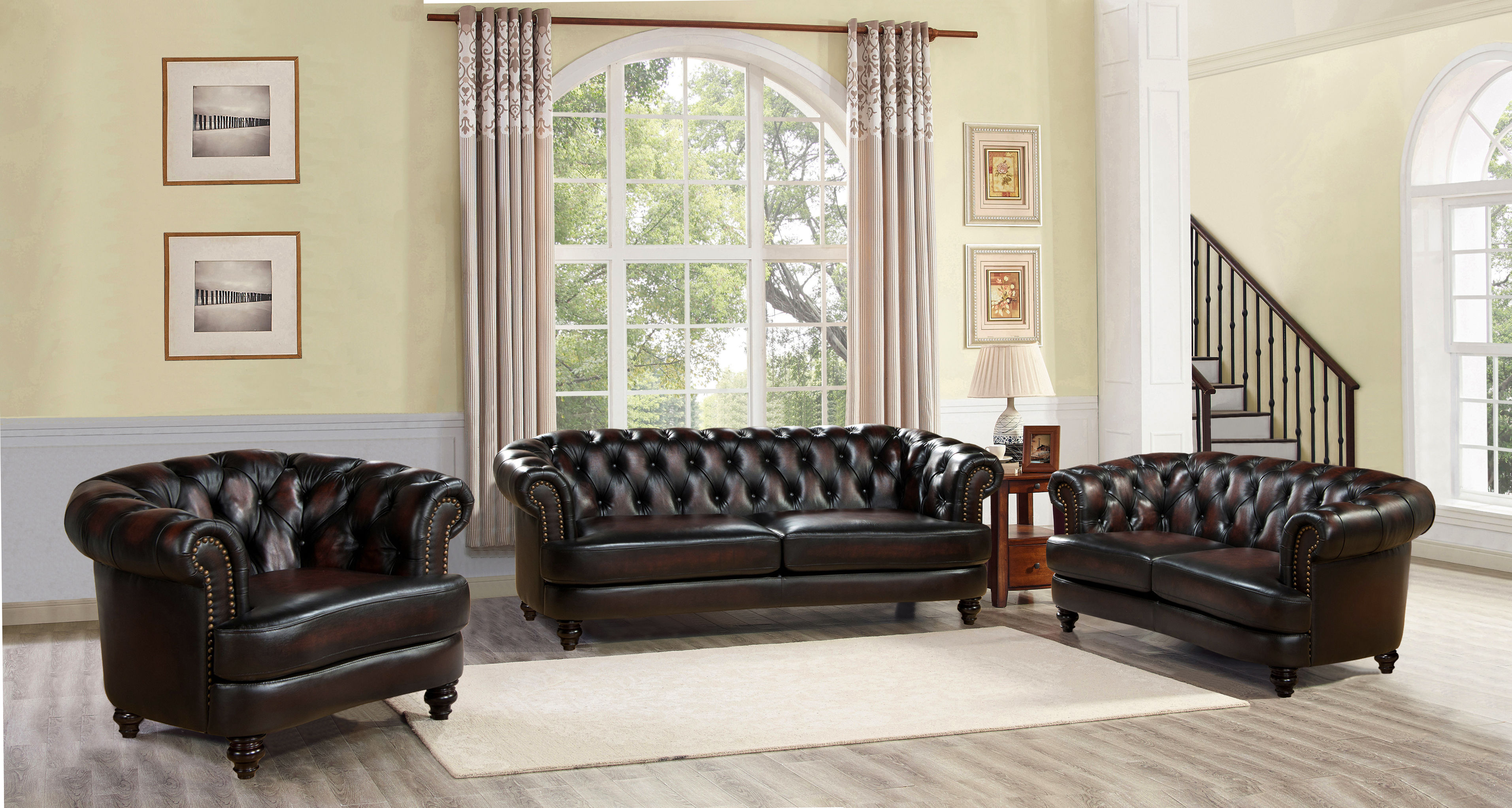 Hydeline Mario Burgundy Brown 3pc Living Room Set The Classy Home throughout 12 Smart Ways How to Makeover Burgundy Living Room Set