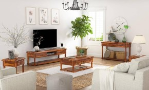 Isleton Rustic Solid Wood 5 Piece Living Room Set regarding 5 Piece Living Room Set
