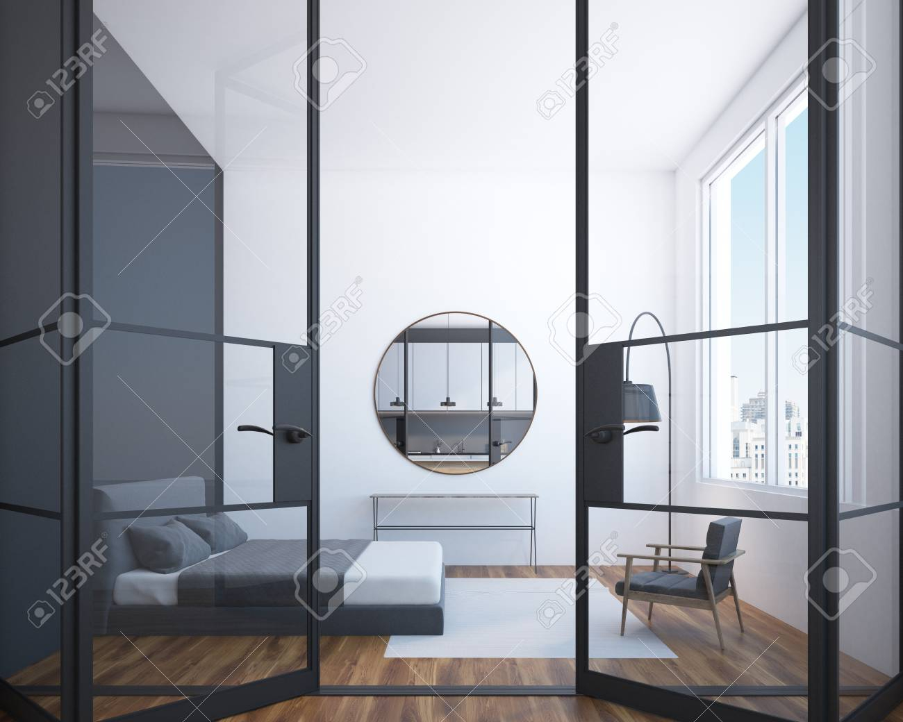 Modern Bedroom Interior With A Wooden Floor A Large Window And in 13 Clever Tricks of How to Craft Modern Bedroom Mirrors