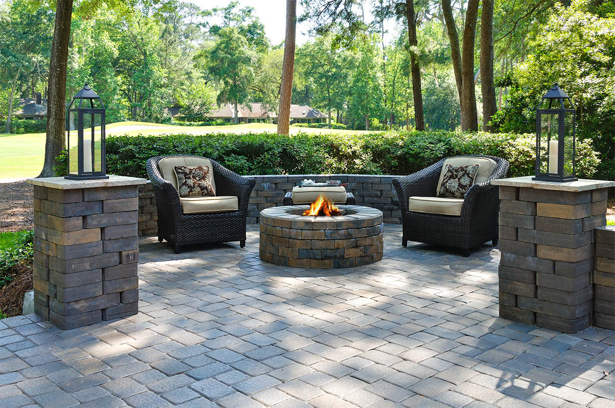Paver Walkways Patios And Firepits The Masters Lawn Care for Backyard Landscaping Ideas With Pavers