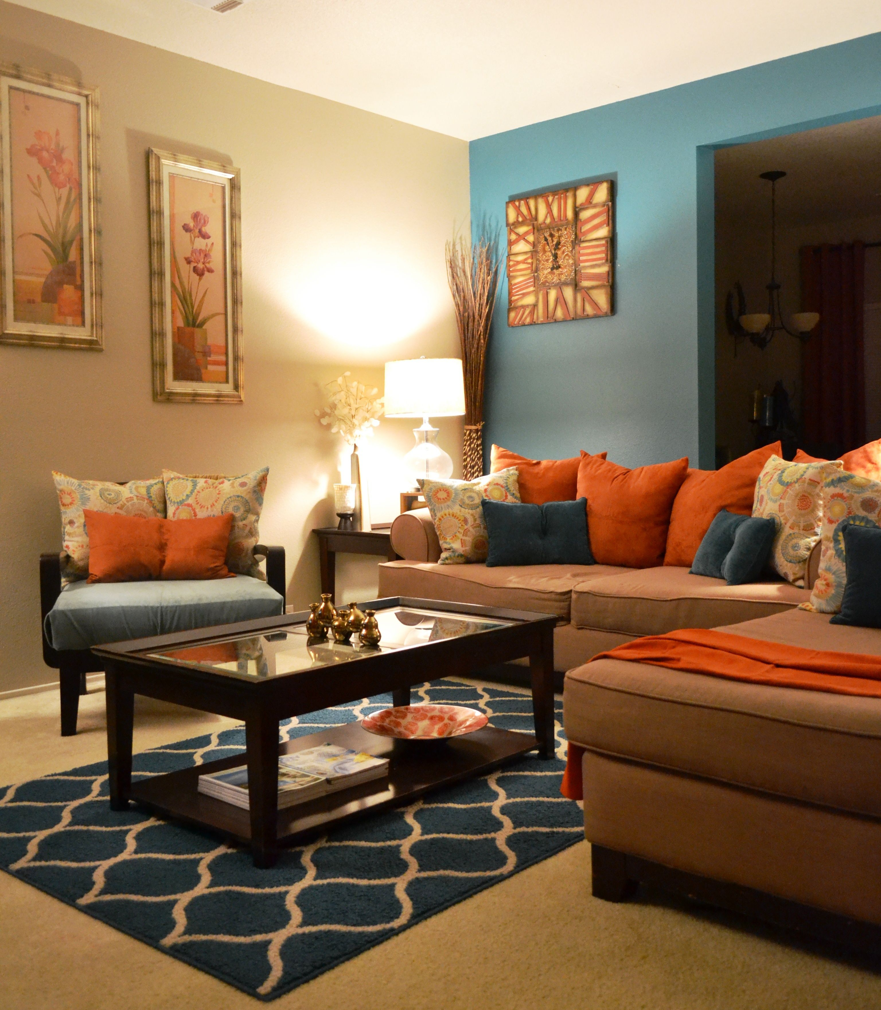 Rugs Coffee Table Pillows Teal Orange Living Room Behr Paint throughout Orange Living Room Set