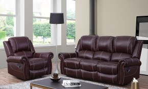 Shop Abson Winston Burgundy Top Grain Leather Reclining 2 Piece pertaining to Burgundy Living Room Set