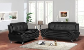 Shop Jasmine Faux Leather 2pc Living Room Set Free Shipping Today inside All Black Living Room Set