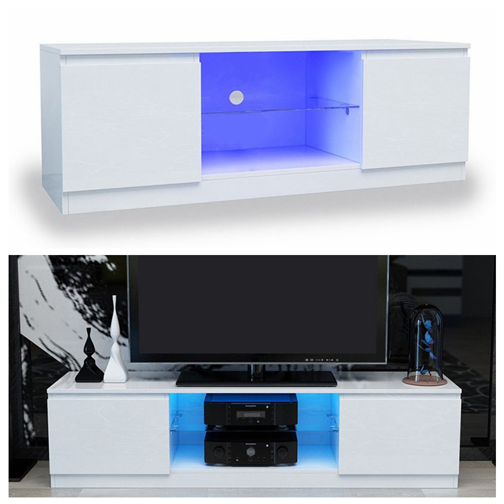 White Tv Stand Cabinet Unit Cupboard With High Gloss Doors Free Led in Living Room Set With Free TV