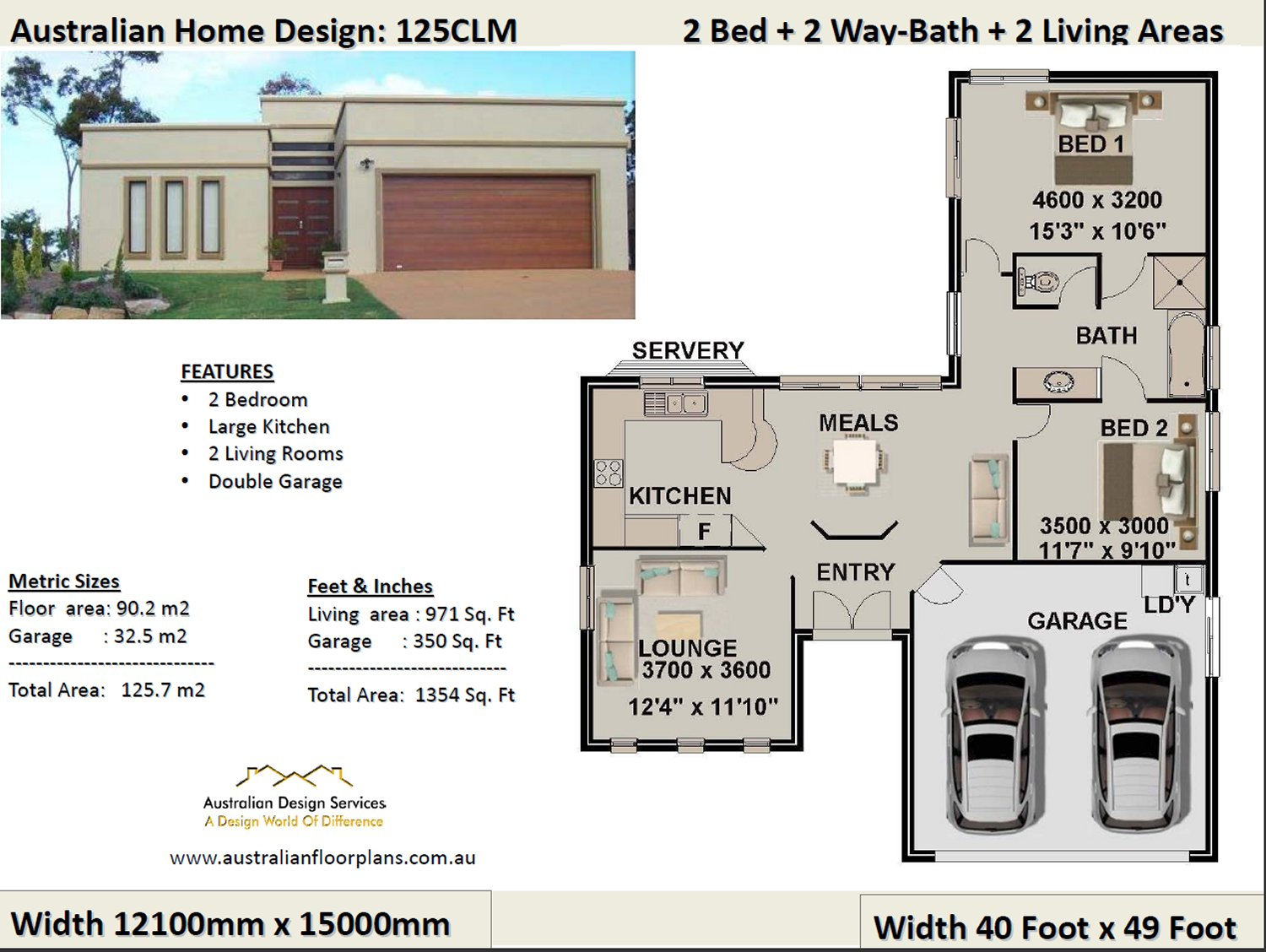 2 Bedroom 2 Car Garage House Plan Small 2 Bed Floor Plan Modern Home Design 2 Bed House Design 2 Bed House Plans Australia For Sale intended for 15 Smart Initiatives of How to Makeover 2 Bedroom Modern House Plans
