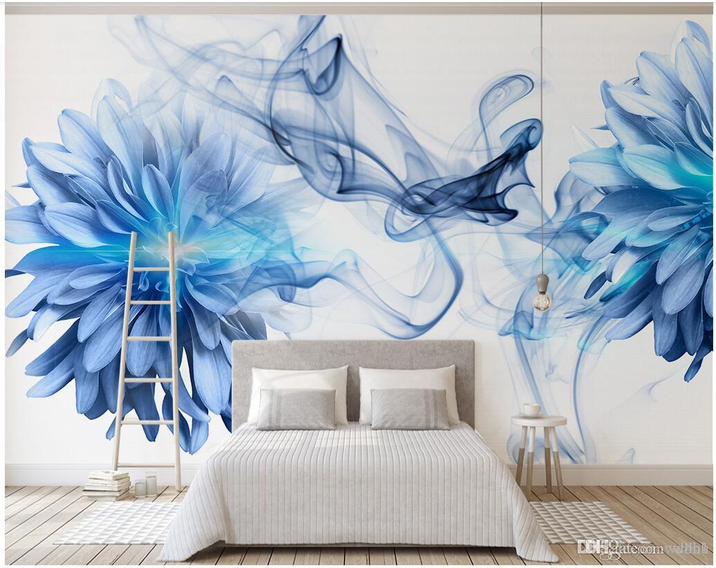 3d Wallpaper Custom Photo Modern And Simple Abstract Smoke Blue Flowers Bedroom Background Wall Muals Wall Paper For Walls 3 D with regard to Modern Wallpaper Bedroom