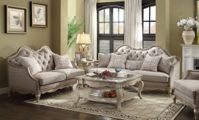 Acme Chelmsford 2 Piece Fabric Living Room Set In Beige in Fabric Living Room Sets