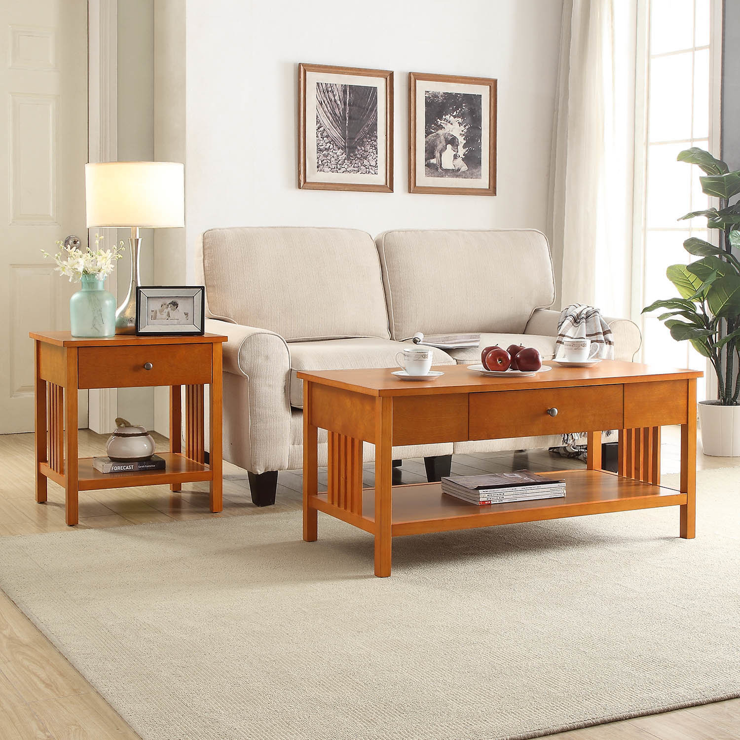 Bechtel 2 Piece Coffee Table Set throughout Mission Style Living Room Set