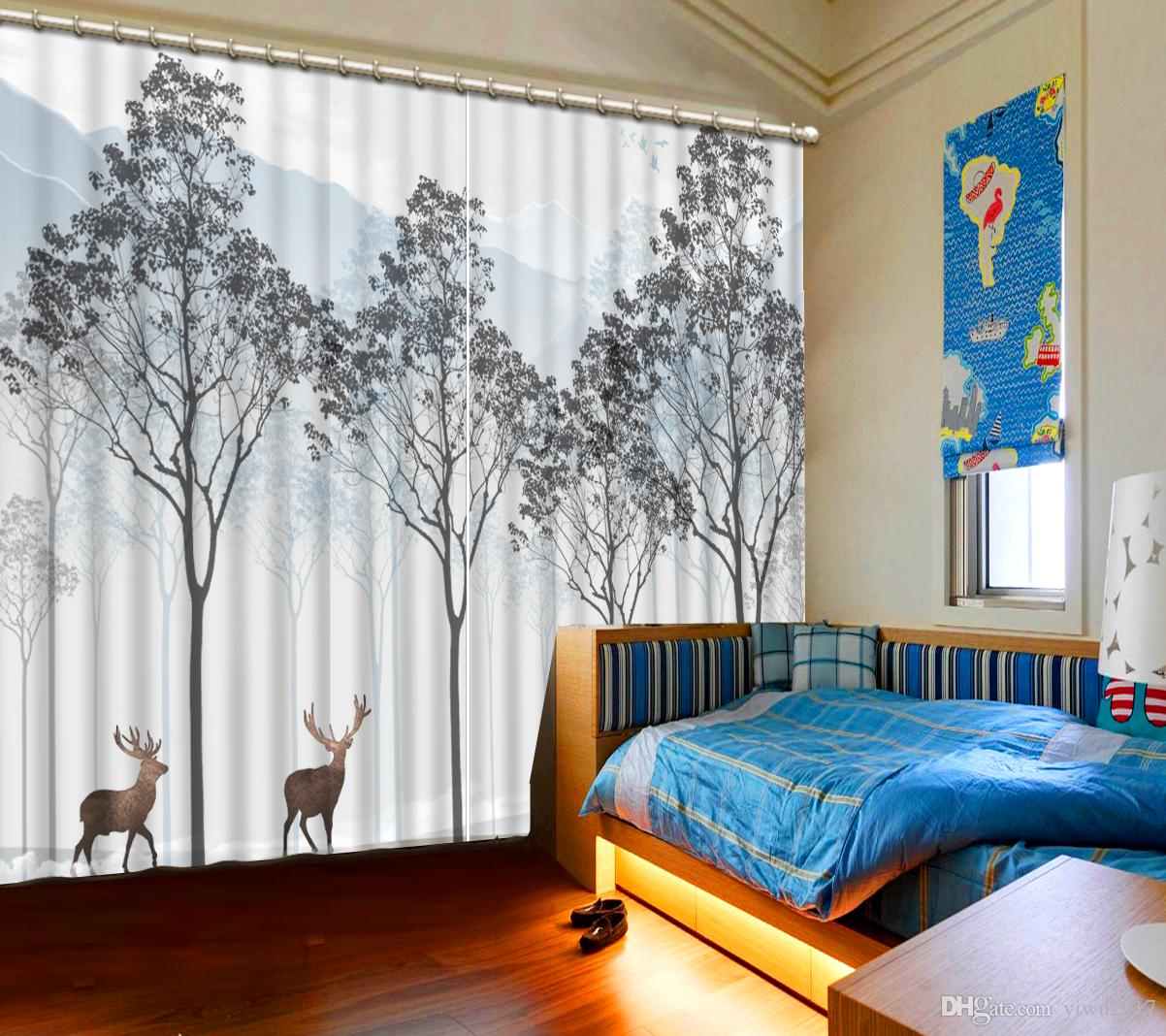 Blackout Curtains Tree Animals 3d Curtains For Bedroom Window Curtain Living Room Modern Style in 11 Smart Initiatives of How to Make Modern Window Treatments For Bedroom