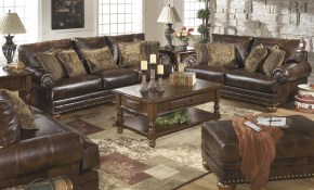 Brown Leather Durablend Antique 4pc Sofa Living Room Package Ashley Furniture regarding Best Place To Buy Living Room Sets