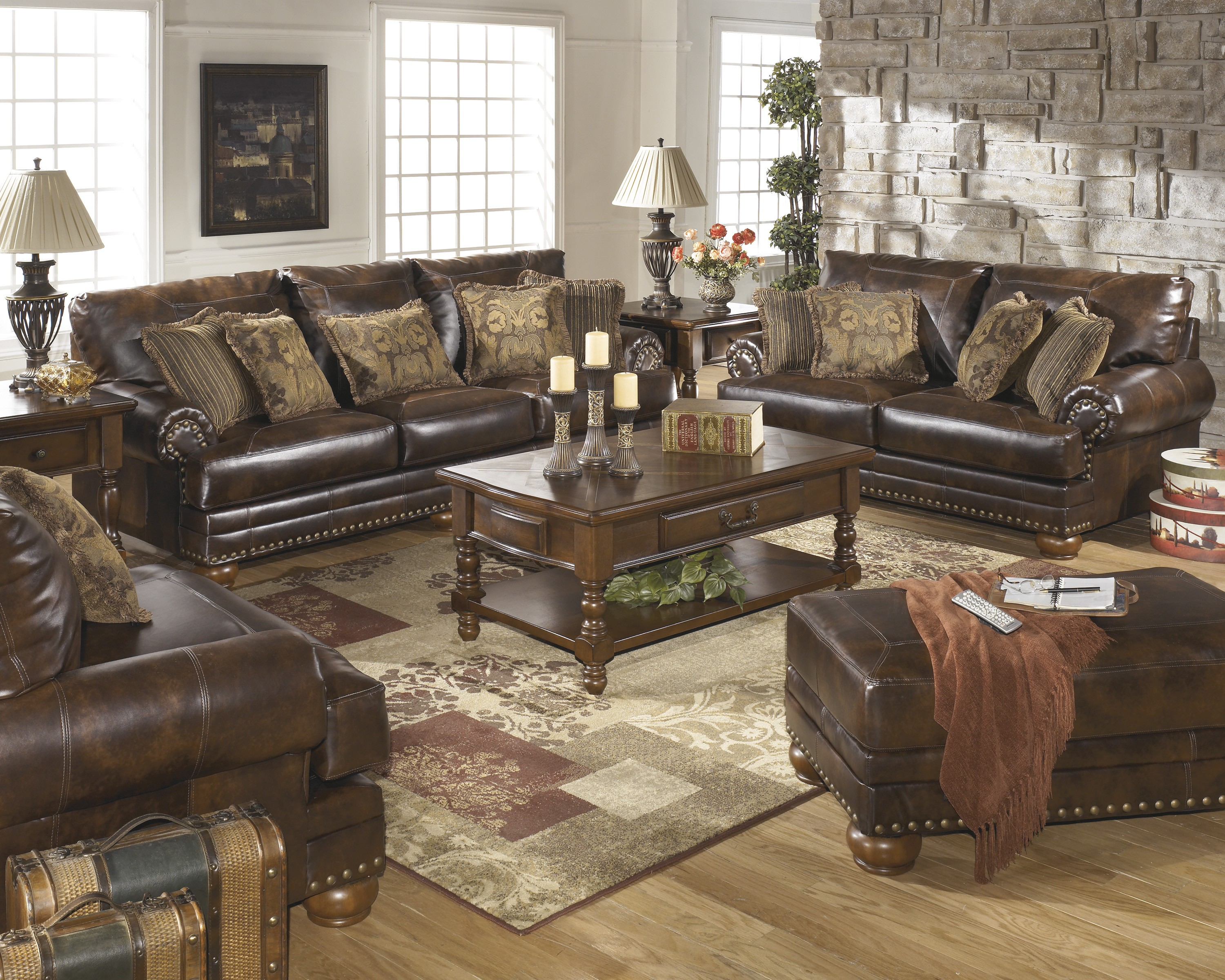 Brown Leather Durablend Antique 4pc Sofa Living Room Package Ashley Furniture throughout 14 Smart Ways How to Makeover Ashley Living Room Set