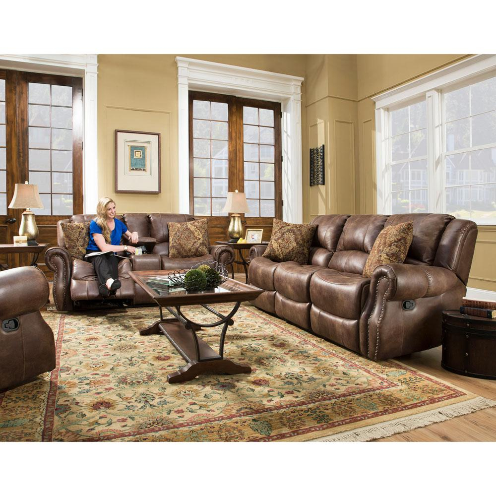 Cambridge Stratton 3 Piece Chocolate Sofa Loveseat And Recliner within Reclining Living Room Set