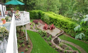 Completed Landscape Sloped Back Yard Ideas Sloped Backyard for 11 Genius Initiatives of How to Craft Small Sloped Backyard Ideas