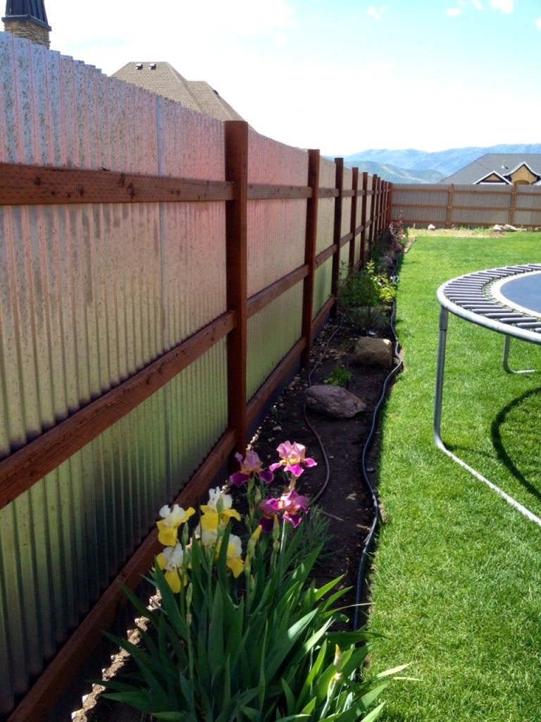 Corrugated Fence Using Metal Building Brackets 8ft Spacing inside Backyard Metal Fence