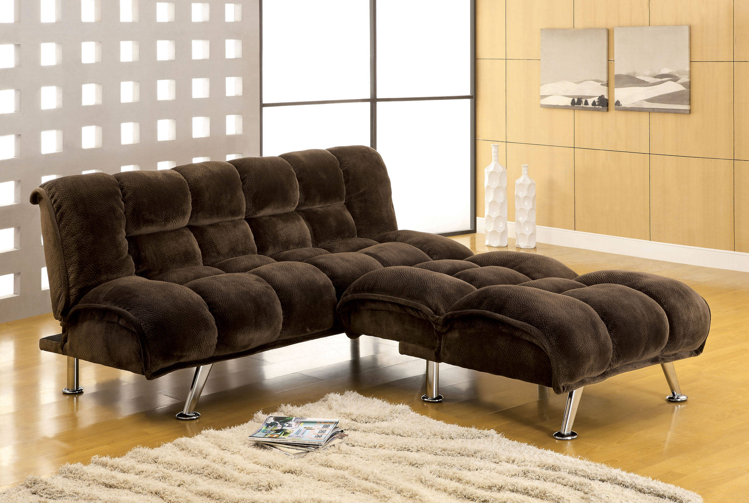 Furniture Of America Marbelle Dark Brown 2pc Living Room Set intended for Futon Living Room Set