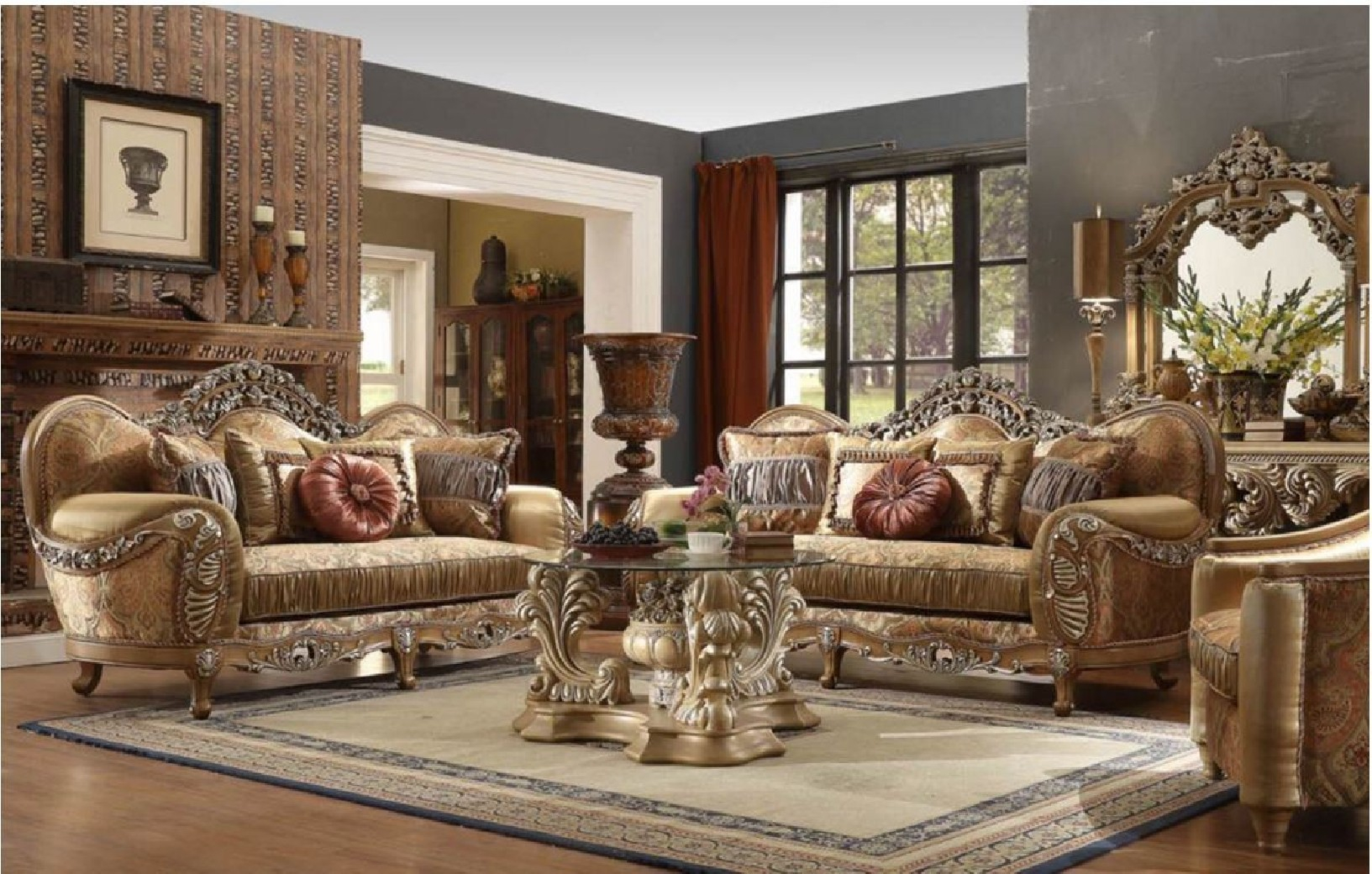 Hd 622 Homey Design Upholstery Living Room Set Victorian European Classic Design Sofa Set in Deals On Living Room Sets