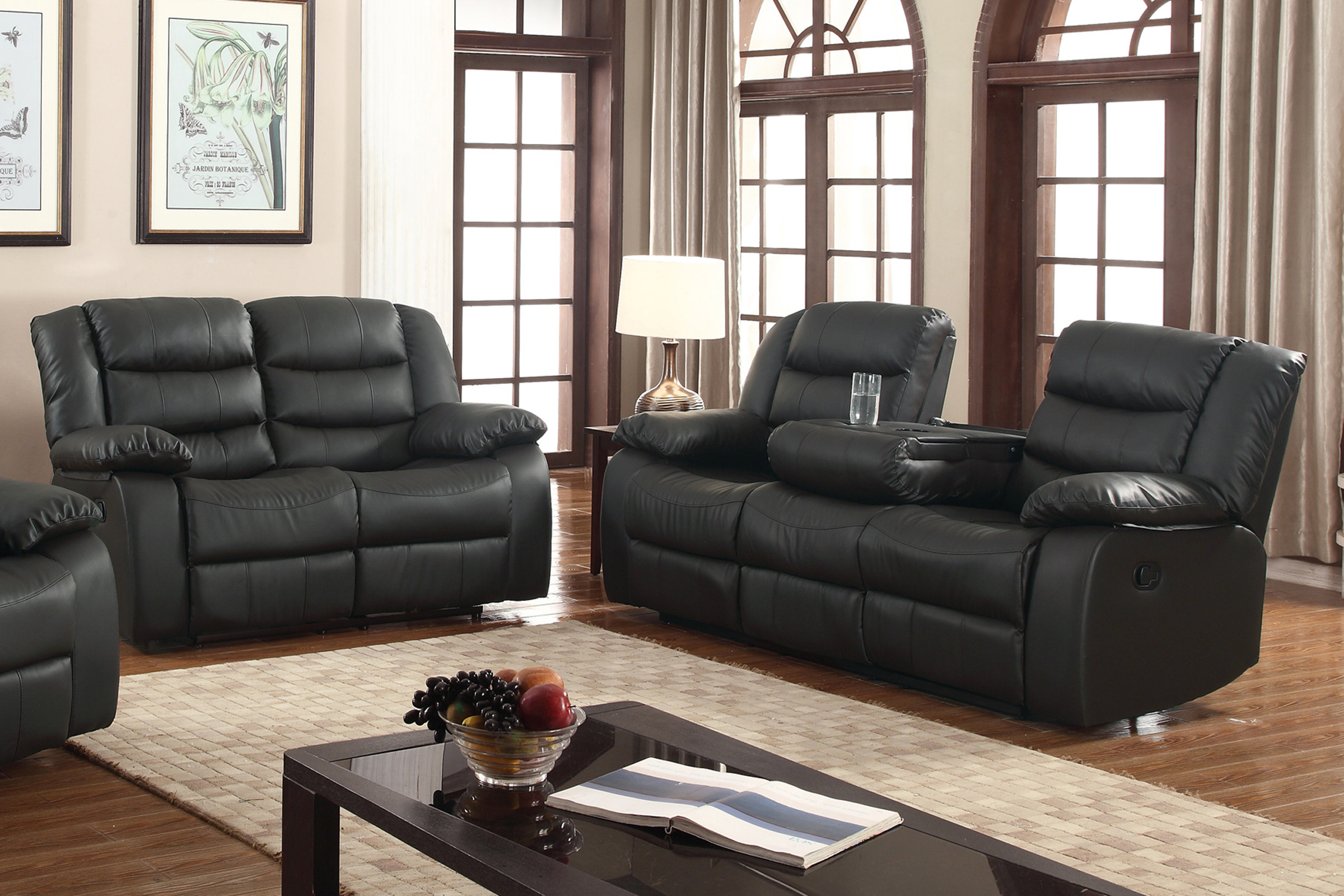 Layla 2 Pc Black Faux Leather Living Room Reclining Sofa And Loveseat Set With Drop Down Tea Table pertaining to 15 Smart Tricks of How to Makeover Walmart Living Room Sets