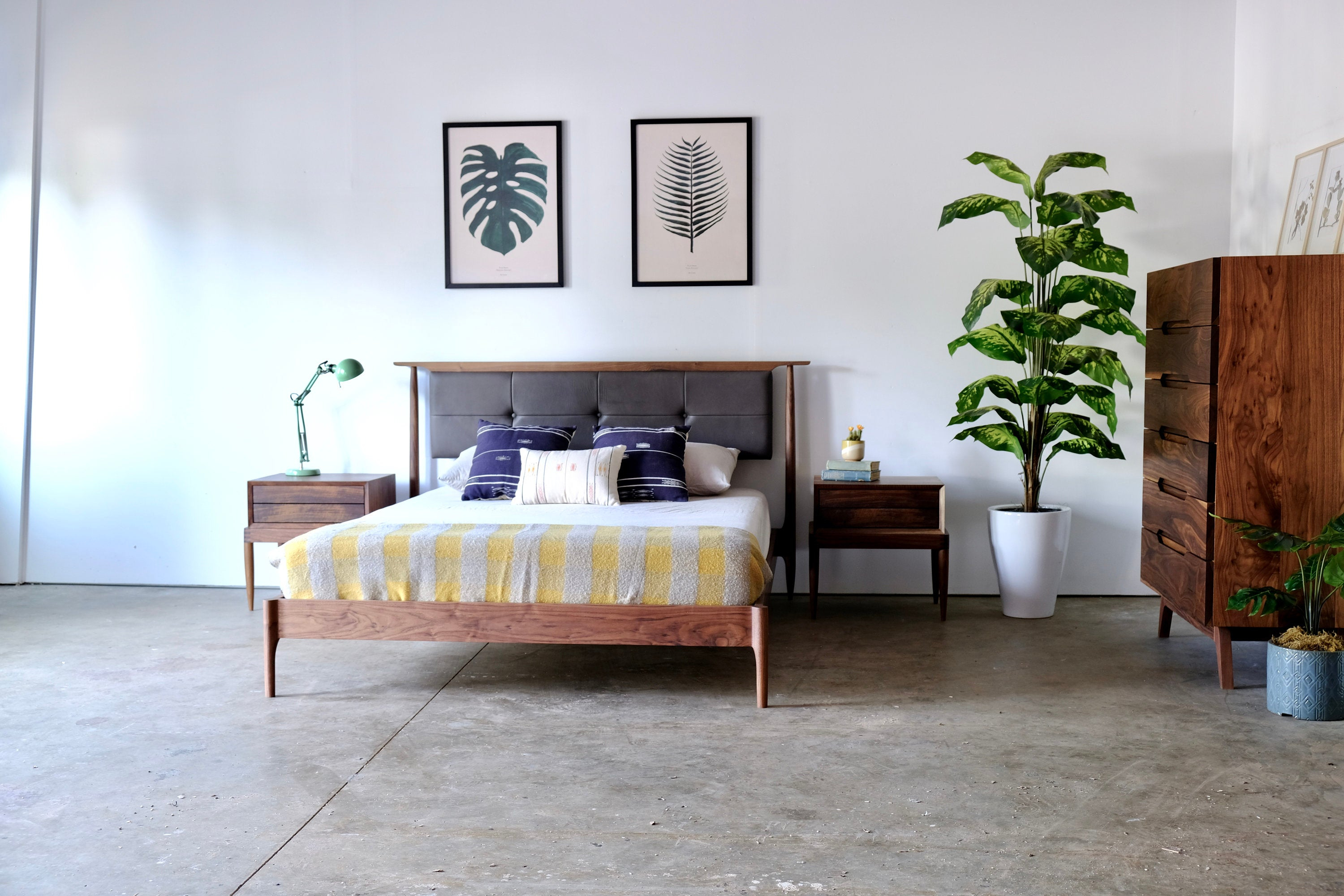 Mid Century Modern Platform Bed With Upholstered Headboard Custom Made Bedroom Furniture Danish Style Storage Bed King Queen Full Or Twin inside Mid Century Modern Bedroom Set