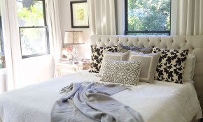 Neutral Bedroom Window Behind Bed Farmhouse Bedroom Bedroom pertaining to 11 Smart Initiatives of How to Make Modern Window Treatments For Bedroom