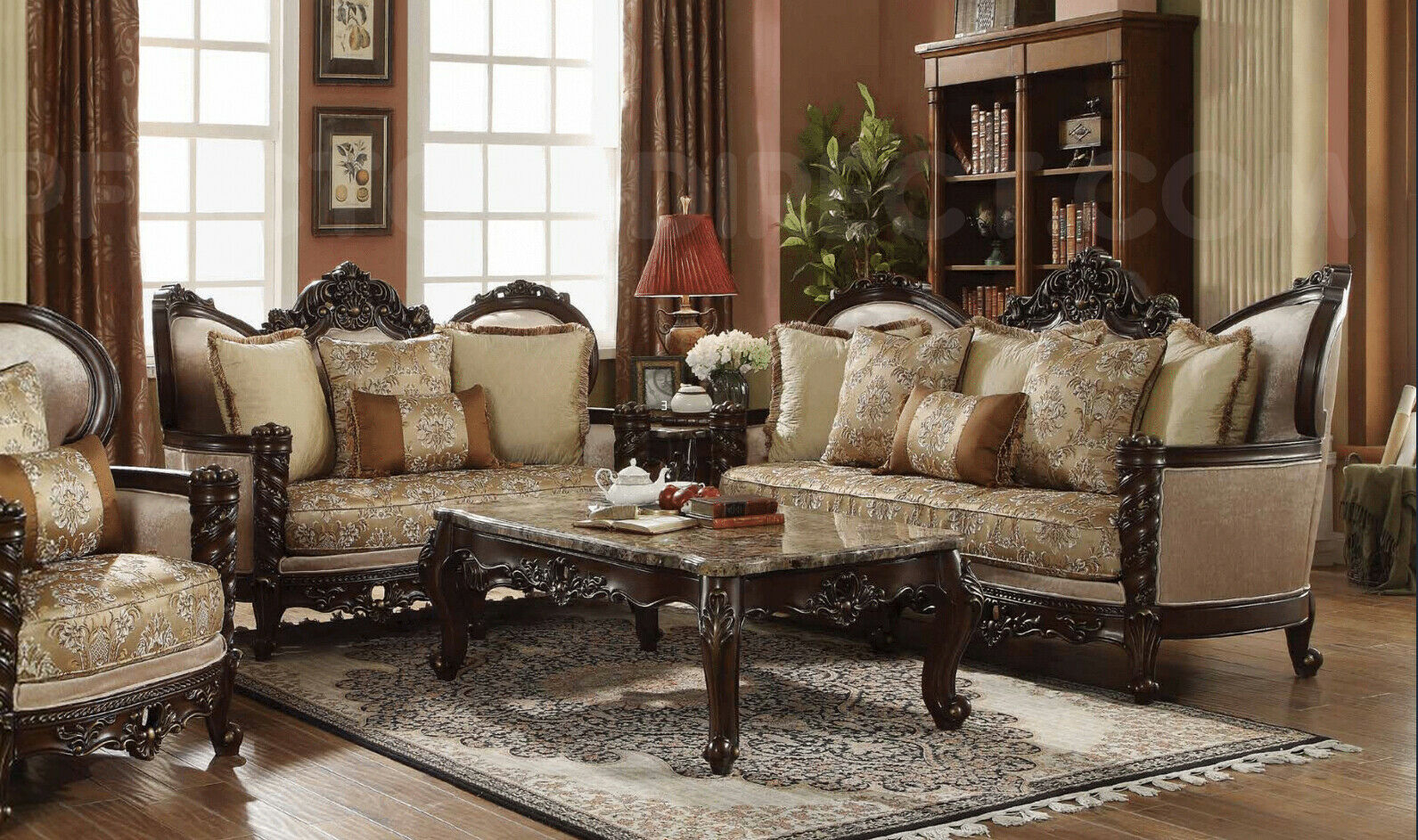 New Classic Victorian Carved Antique Style Luxury Living Room Sofalove Seat Set in Victorian Style Living Room Set