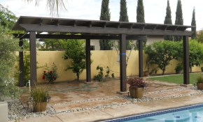 Outdoor Backyard Design With Aluminum Gazebo Canopy And Concrete intended for Backyard Canopy Ideas