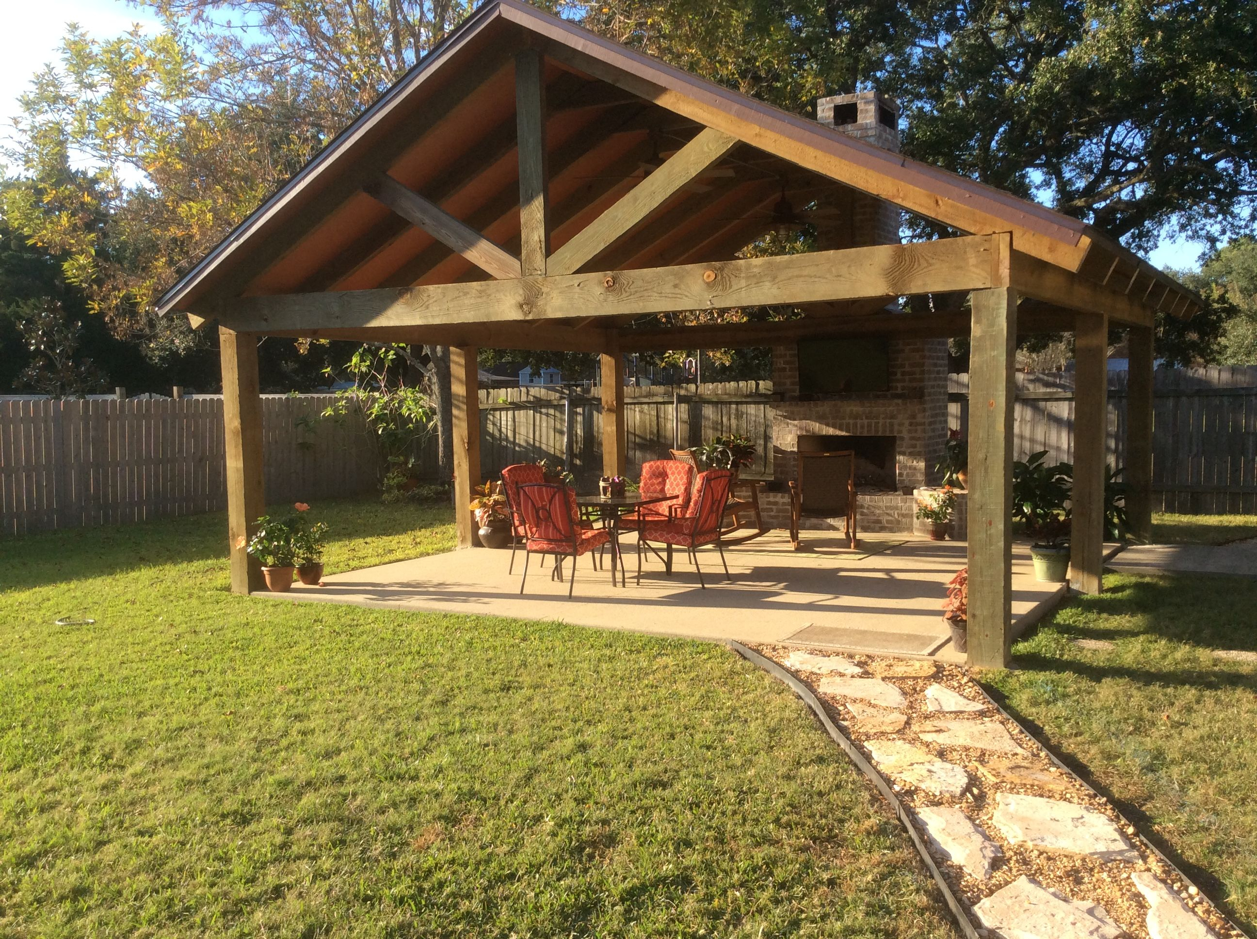 Pavilion With Fireplace Outdoor Living In 2019 Backyard Pavilion within Pavilion Ideas Backyard