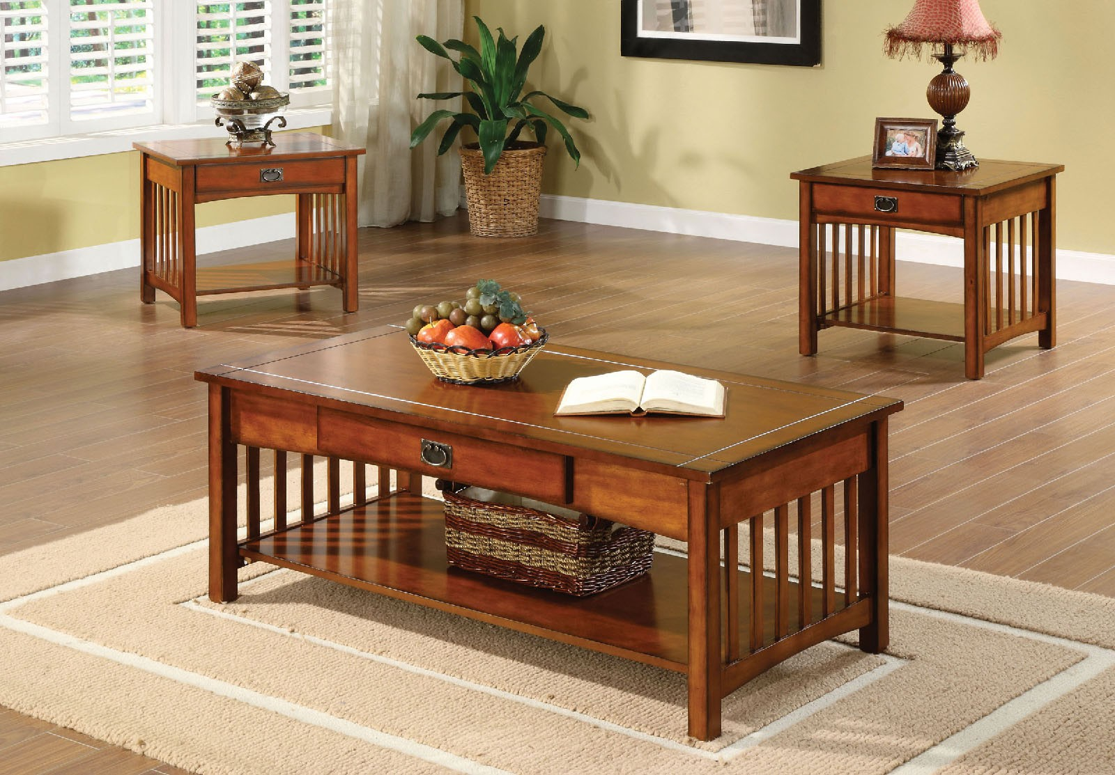 Simple Relax 3pc Seville Mission Style Living Room Cocktail Coffee End Table Set Antique Oak with Mission Style Living Room Set