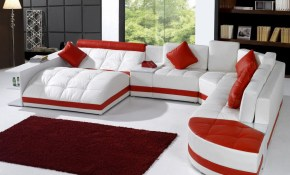 Stylish Leather Sectional With Chaise With Pillows with regard to Leather Living Room Sets For Sale