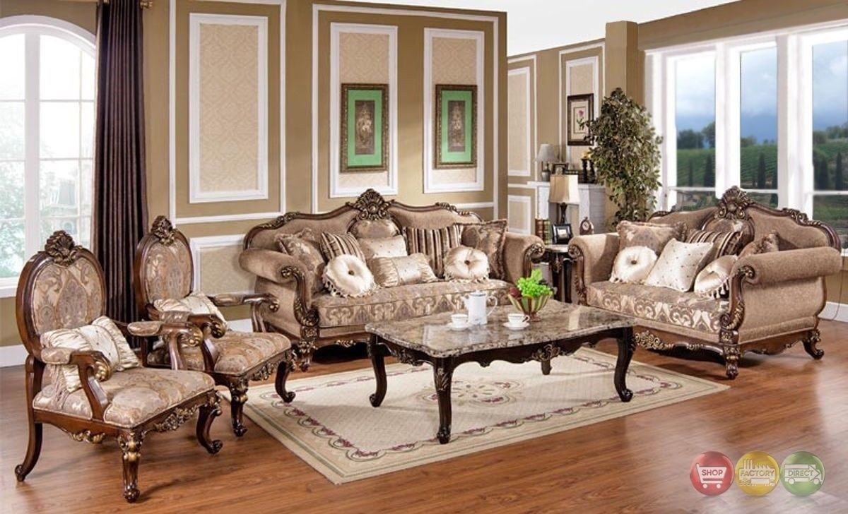 Victorian Traditional Antique Style Sofa Loveseat Chair 3 Piece Living Room Set throughout Victorian Style Living Room Set