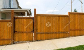 House Garden Backyard Wood Fence With Gate Stock Photo intended for 14 Some of the Coolest Concepts of How to Improve Backyard Fence Door