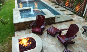 Narrow Pool With Hot Tub Firepit Great For Small Spaces In My for Ideas For Small Backyards