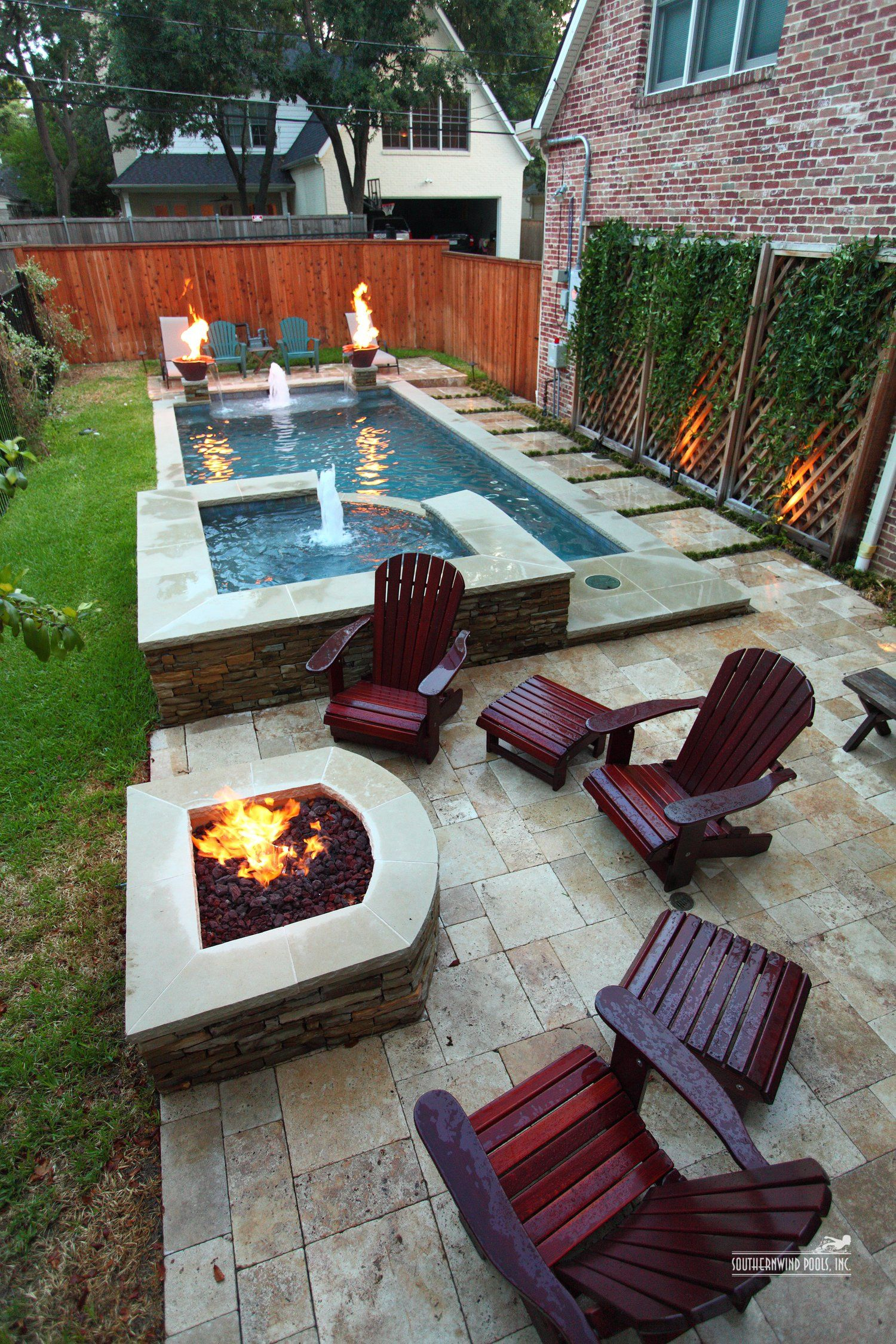 Narrow Pool With Hot Tub Firepit Great For Small Spaces inside 13 Smart Concepts of How to Improve Small Backyard Landscaping