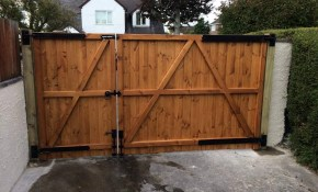 Rear View Of 34 Split Driveway Gate Fitted Using throughout Backyard Fence Door