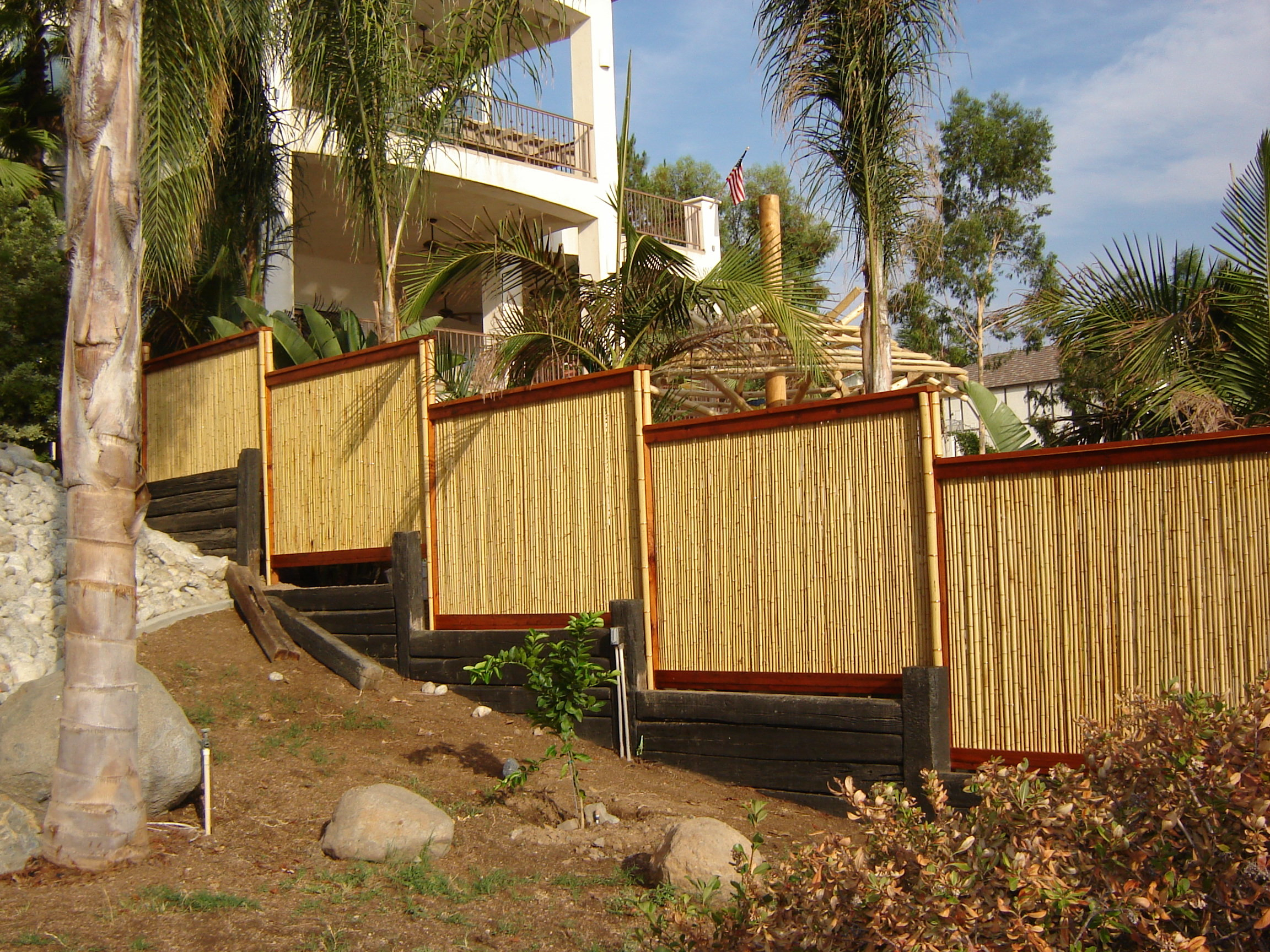 Rolled Bamboo Fencing throughout Backyard X Scapes Bamboo Fence