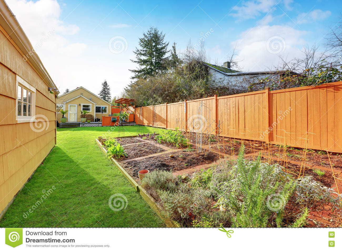 Small Vegetable Garden With Risen Beds In The Fenced inside Fenced In Backyard