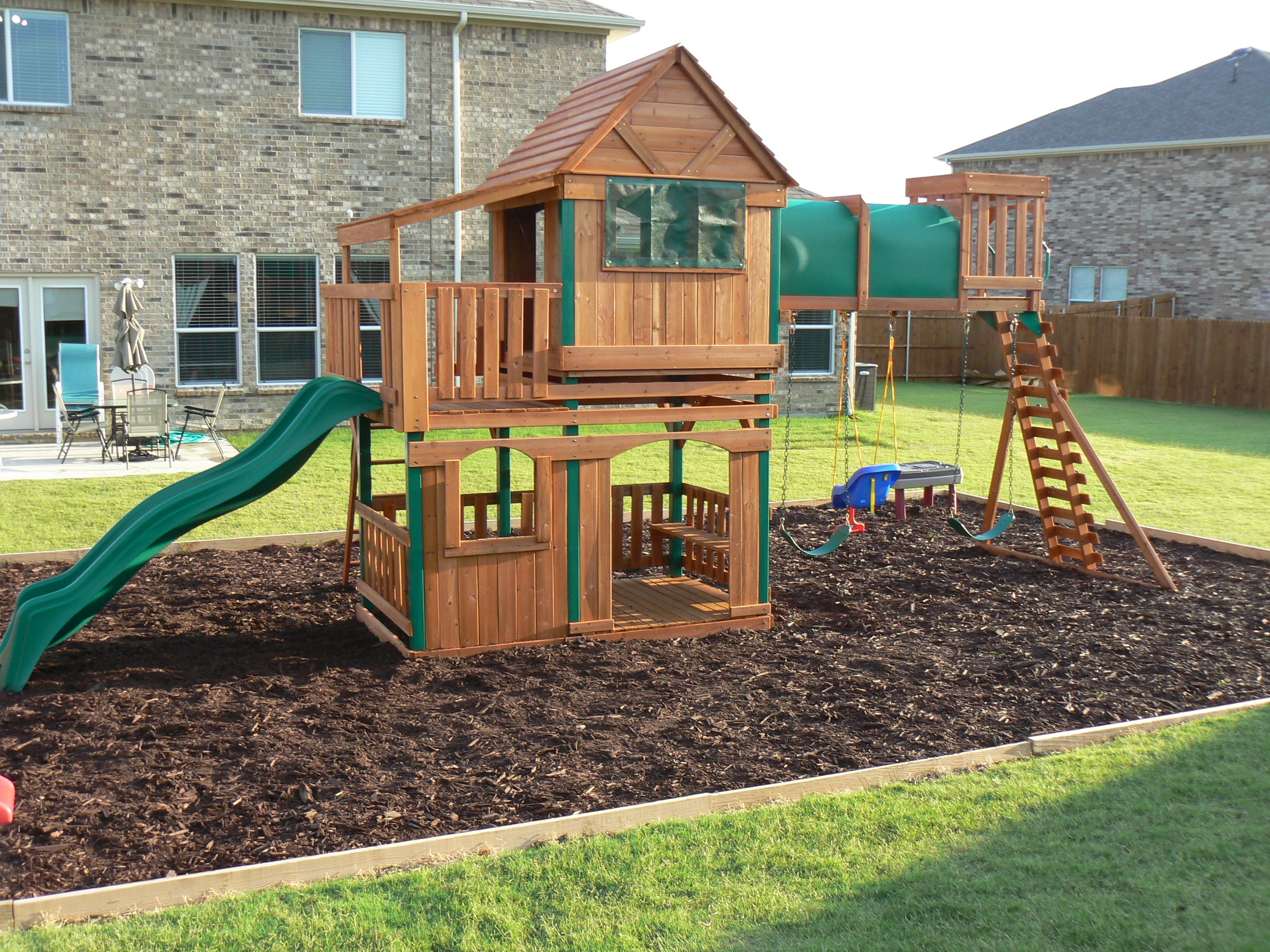Step Step How To Border A Playground Area Outside In for 10 Genius Ways How to Improve Backyard Playset Ideas