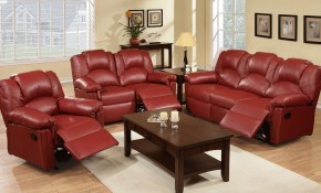 3pc Reclining Sofa Set Sofa Loveseat Reliner Leather Or inside Leather Reclining Living Room Sets