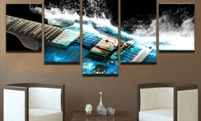 5 Pieces Abstract Blue Guitar Canvas Wall Art Pictures Home Decor Living Room Wall Decor With Frame in 11 Some of the Coolest Initiatives of How to Build Modern Bedroom Wall Art