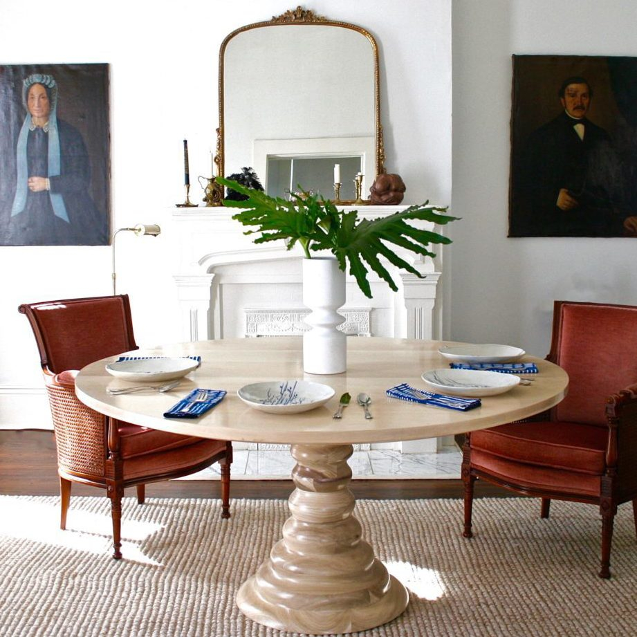 Amelia Round Dining Table for Wood Living Room Set