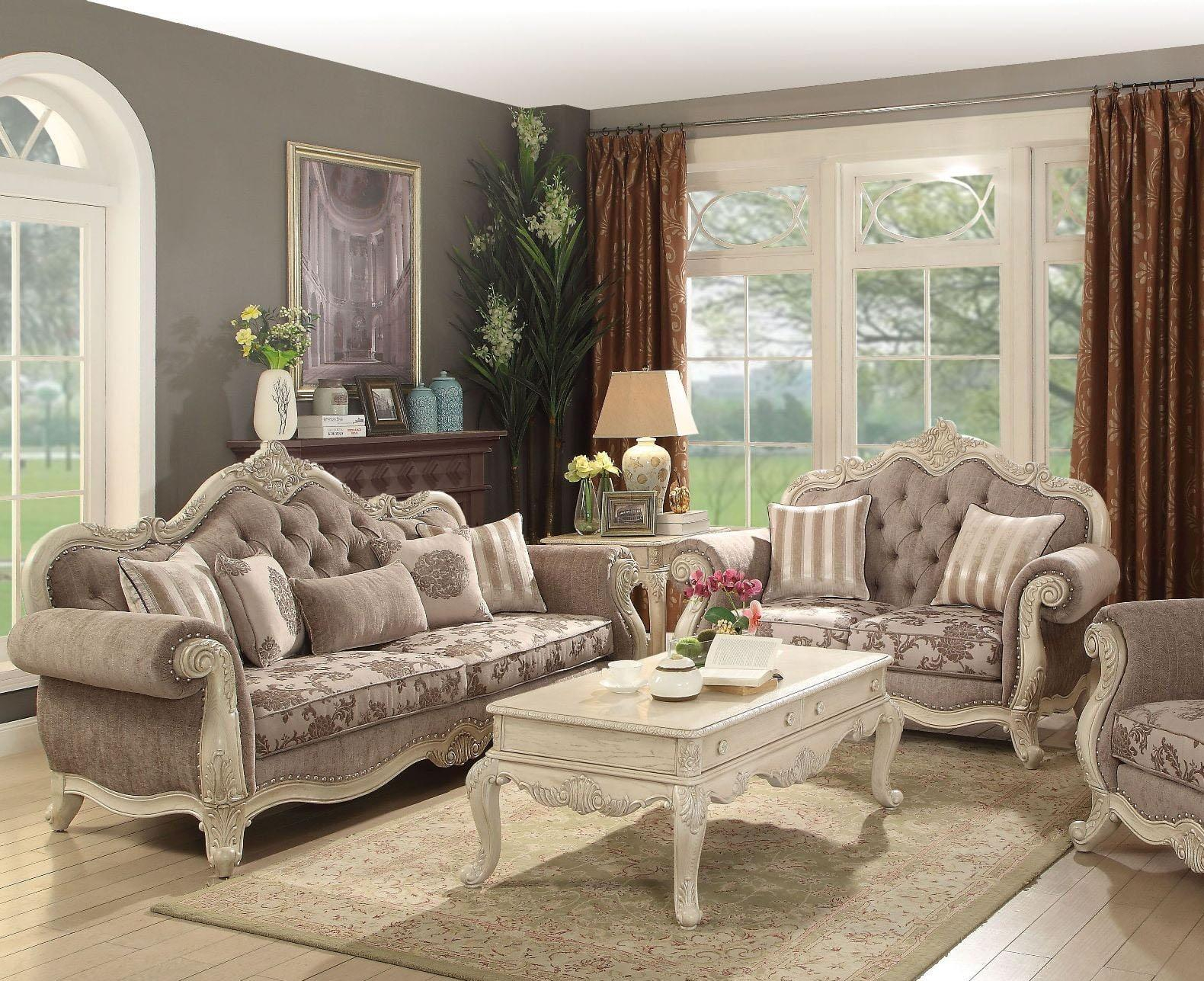 Antique White Gray Living Room Set 2pc Classic Acme Furniture 56020 Ragenardus throughout 12 Clever Ways How to Build All White Living Room Set