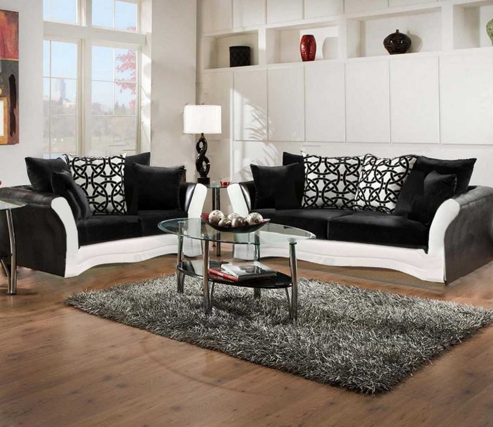 Black And White Sofa And Love Living Room Set throughout White Leather Living Room Sets