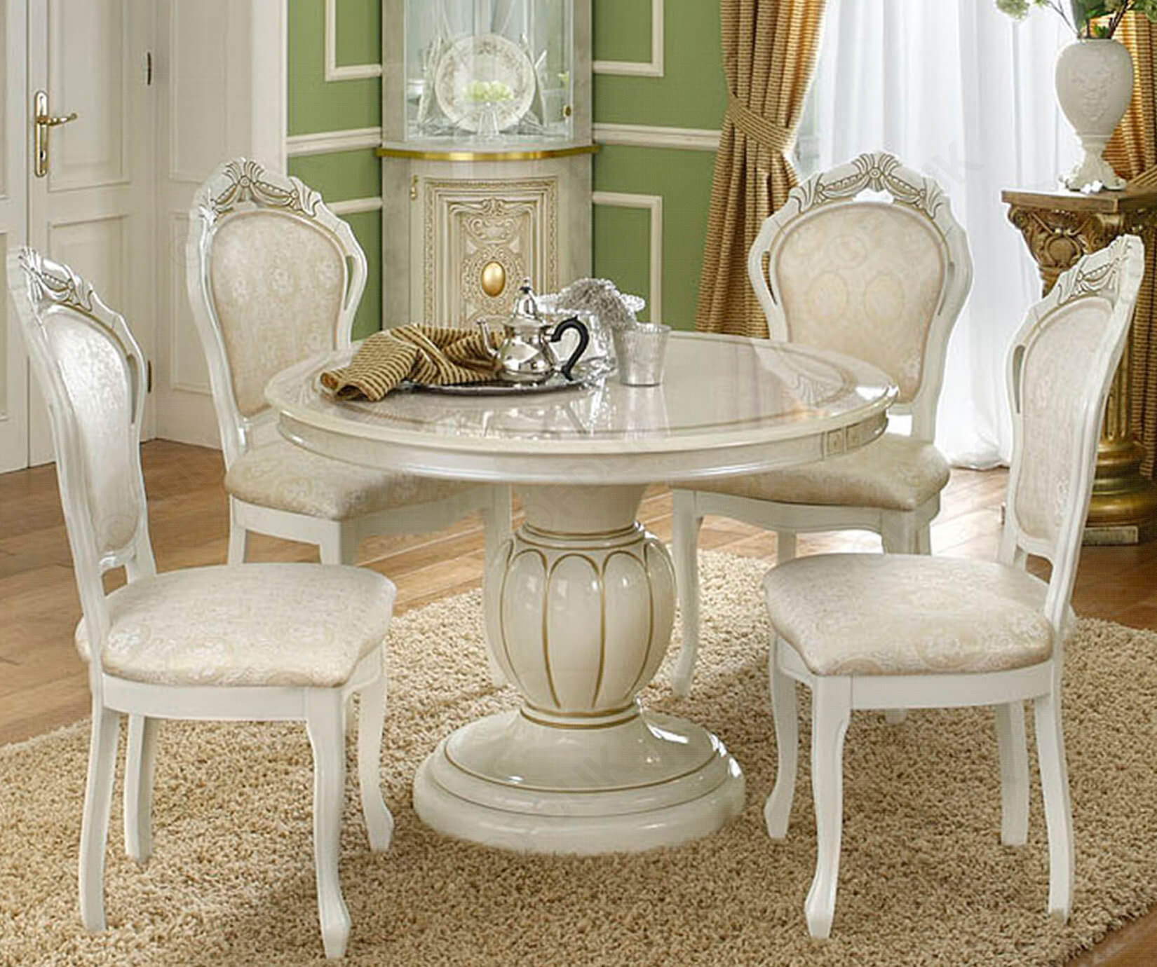 Camel Group Leonardo Ivory Round Extension Dining Set With 4 Chair within 14 Clever Initiatives of How to Make Italian Living Room Sets