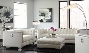 Chaviano Pearl White Living Room Set pertaining to Bedroom And Living Room Sets